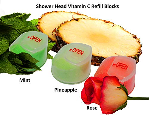 Healthy Splash Pack of 3 Vitamin C Shower Filter Refill Blocks, 1 x Pineapple,1 x Rose, 1 x Mint Flavor Scents for Vitamin C Filtered Shower Heads (Pineapple, Rose, Mint)