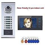 xc-2710 Sistema citofono videocitofonico da 7 Pollici per Appartamento/Famiglia, Campanello Impermeabile con Pulsante a sfioramento, Telecamera RFID IR-Cut HD 1000TVL con 12 Pulsanti / 11 Display