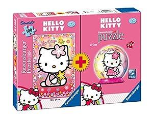 Ravensburger 10692 - Set de puzzle (100 piezas) y puzzle esférico (54 piezas), diseño de Hello Kitty