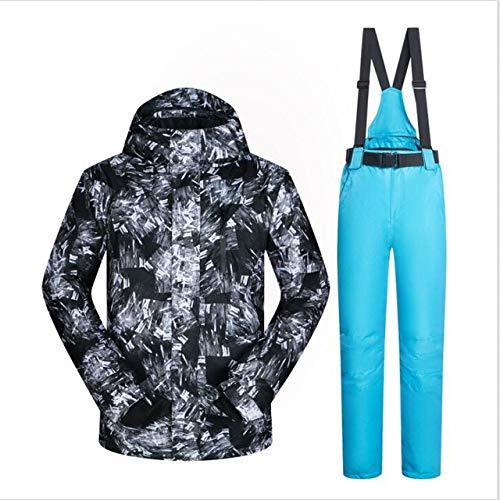 ZYJANO Skianzug Ski Suit Men Winter New Windproof Waterproof Breathable YH Male Snow Jacket and Pants Skiing and Snowboarding Jacket Men,HeiYH and LightBlue,XXL