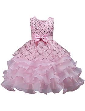 WOLFTEETH Abito Ragazze lungo Senza maniche Principessa Vestito con disegno di Fiore e multi strati per compleanno...
