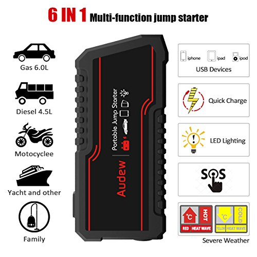 AUDEW-Avviatore-di-Emergenza-Auto-Jump-Starter-Portatil-Power-Bank-12000mAh-650A-12V-Per-AutoMotoBarcheCamion-Built-In-LED-Flashlight