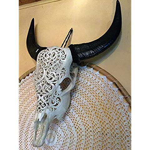 Long horn Real Bone Carving testa di bufalo naturale Horn Carved Real Bone – Little Big Horn Buffalo Buffalo Skull Longhorn