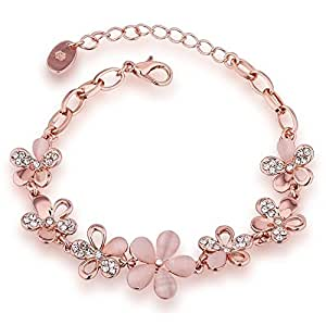 Valentine Gift by Shining Diva Rose Gold Crystal Charm Bangle Bracelet for Girls and Women