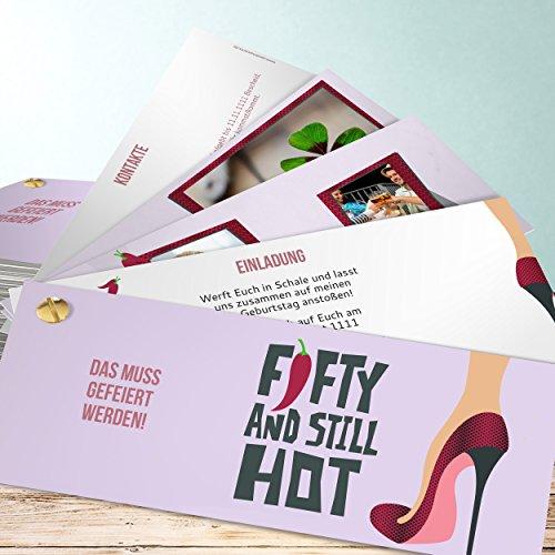 Einladungskarten 50 Geburtstag gestalten, Stiletto 200 Karten, Kartenfächer 210x80 inkl. weiße Umschläge, Lila