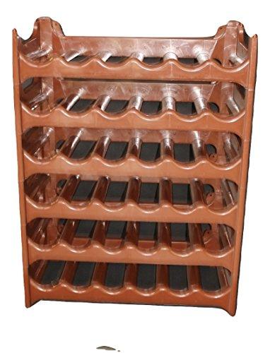Rack Spirituosen-wand ( Weinregal stapelbar kunststoff für 36 Flaschen, stabiles leichtes Flaschenregal für Keller, Gastronomie und Lagerraum, modular erweiterbare Flaschen- und Weinlagerung, braun)