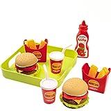 Unbekannt Spielzeug Hamburger Set mit Tablett, 19 x 19 cm - Puppen Service Zubehör Kinderküche Spielküche Küche Geschirr