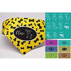 Hundehalstuch mit Name für Welpen, kleine & große Hunde Dreieck Halstuch gelb lila türkis braun grün blau