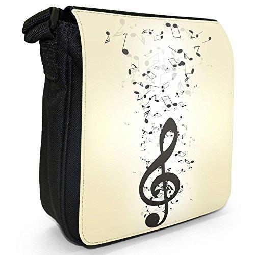 Musik ohne Ende mit Notenchaos Kleine Schultertasche aus schwarzem Canvas