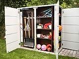 Garten[Q] Teras Gartenschrank, Gartengeräteschrank, Gartenbox, HPL-Trespa, wetterfest mit Zugriff von 2 Seiten links geschlossen, breites Streifendesign - 6