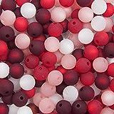 20 Stück echte original Polarisperlen Perlenmix Perlenmischung Perlen Perlenset 8 mm, bordeaux, rot, rosa, weiß, Perlen aus deutscher Produktion