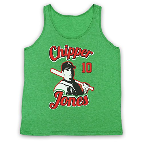 Inspired Apparel Inspiriert durch Chipper Jones Atlanta Braves Baseball Inoffiziell Tank-Top Weste, Jahrgang Grün, 2XL (Braves Jones Baseball Chipper Atlanta)