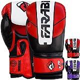 Farabi PRO Safety Tech Fighter MMA, Muay Thai Training Sparring Boxe, Kickboxing, Guanti (Rosso/Bianco/Nero, 340,2Gram)