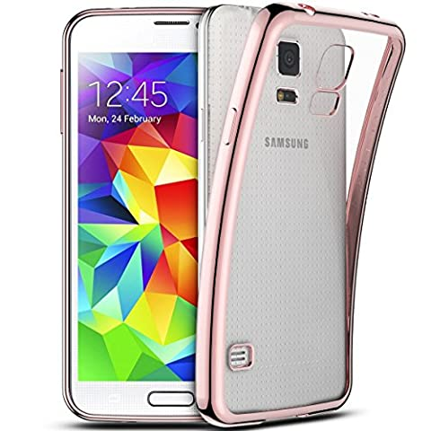 Smartlegend Coque pour Samsung S5 ,Galaxy S5 Etui , Samsung Galaxy S5 Soft Shock Absorb Clear Back Panel Flexible Crystal Metal Electroplating Technology Gel TPU Rubber Transparent Back Cover Ultra Thin Shockproof Anti Slip Smartphone Case -Rose Gold - Samsung Galaxy S5