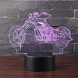 Hnfslz 3D Nachtlicht Led Schreibtisch Tischlampe 7 Farbe Touch Lampe Kunst Skulptur Lichter Geburtstagsgeschenk Für Kinder Schlafzimmer Dekor (Traktor) -Harley Motorrad B