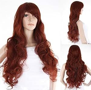 Ladieshair Perücke professionell braun mit rotstich ca. 80 cm lang lockig als Haarersatz Zweithaar bei Haarausfall oder nach einer Chemo oder auch für Fotoshootings oder Karneval - HM-HMD1296_35 Versand aus Deutschland bei Verkäufer Ladieshair.de