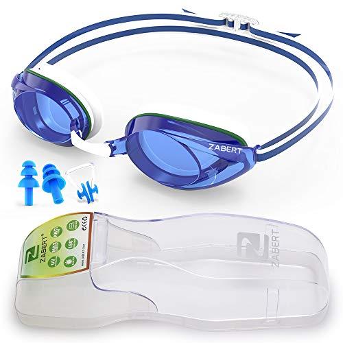 ZABERT Schwimmbrille, R6 Wettkampf Schwimmbrillen für Erwachsene Herren Damen Männer Frauen Kinder 8+ Jahre Schwimmen Brille Antibeschlag UV Schutz Groß Triathlons Wettkämpfe Schwimmbrille Blau Weiß