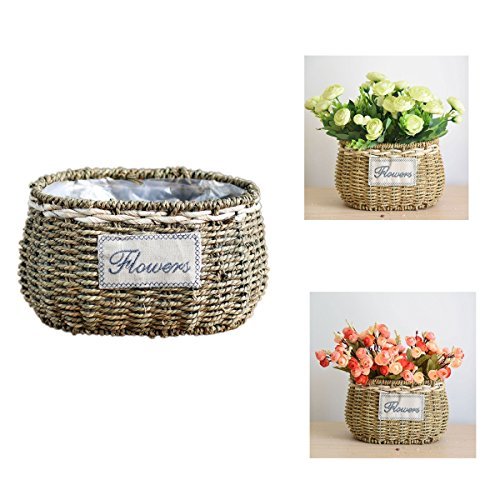 Yosposs seagrass basket, in rattan naturale intrecciato a mano, creativo desktop ornamenti in vaso, vaso di fiori decorativi fishbowl containers-upgrade b