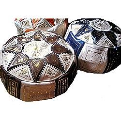 Cuero Feria de Marruecos Estrella Puff - Elija entre 10 colores (Royal Blue)