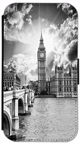 FioMi Flip Cover Hülle Samsung Galaxy S5 / S5 Neo Motiv 684 Big Ben London England Schwarz Weiß Grau Handy Tasche Etui Schutzhülle Flipcover Case Wallet Bookflip Buchflip (Samsung S5 London Galaxy Case)