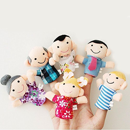 House of Quirk Family Finger Puppets - People Includes Mom, Dad, Grandpa, Grandma, Brother, Sister