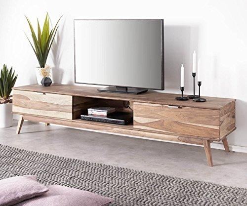 DELIFE Fernsehtisch Dover Sheesham Natur 200 cm 2 Schübe 1 Fach Massivholz Lowboard