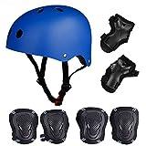 SymbolLife Skateboard / Skate Protektoren Set mit Helmet -- Skate Helmet Knie Pads Elbow Pads mit Handgelenkschoner für Skate, Skateboard, Roller Skate, BMX, Bike und anderen Extreme Sports, M Blau