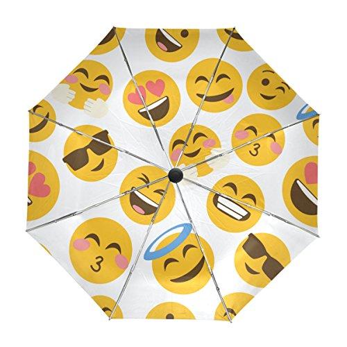 ALAZA Viajes Divertido Emoji Paraguas Apertura automática