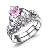 Las mujeres de moda plata de ley 925rosa Kunzite Juego de anillos de boda Claddagh irlandés tamaño 6-10