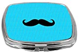 Rikki Knight Compact Mirror, Mustache On Blue Dots