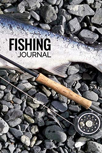 Fishing Journal: Matte Softcover Notebook Log Book 120 Blank Pages Black White Minimalist Bass Fly Rod Cover Design -