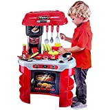 Hi-Widze 35 PCS Little Chef Kids Kitchen Play Set With Light & Sound Cooking Kitchen Set Play Toy (35 PCS Red)