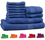 #9: Trident 400 GSM 10 Pcs Towel Set 100% Cotton Premium Towels, Midnight Blue(Bath , Hand & Face)…