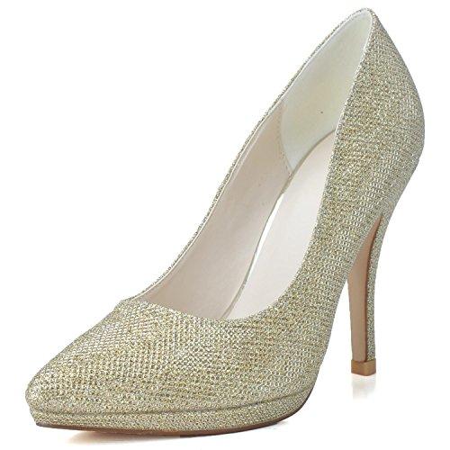 Elobaby Scarpe da Sposa da Donna K0255-24 Taglie Corte Tacchi Alti da Donna con Paillettes Chiuse Giallo