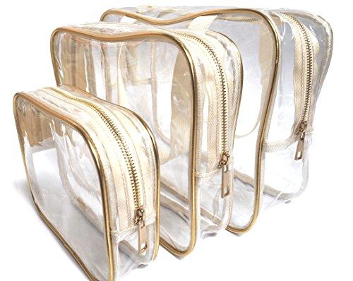 Lori Gold Beauty Clear Cosmetics Travel Bag Three Piece Set