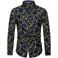 Hombres Camiseta De Manga Larga, Estampados Geométricos,Azul,XL