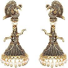 Jewel Pari Stylish Fancy Antique Boho Vintage Oxidised Gold Chandbali Jhumka Earrings Set Jewellery