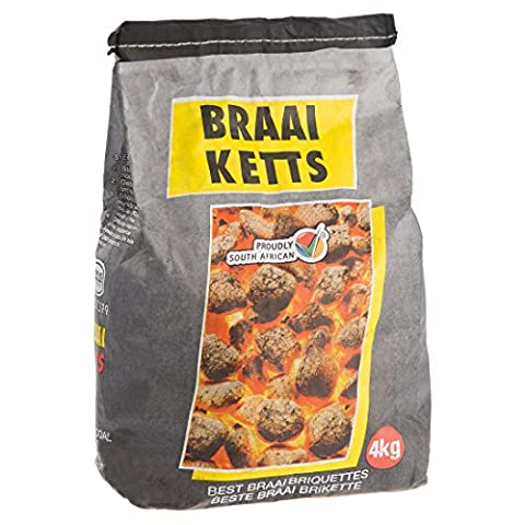 Ultranatura by Braai Ketts 4 kg Premium Holzkohlebriketts, Grillkohle, grillbereit