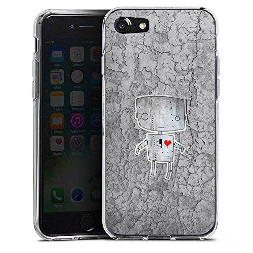 Apple iPhone X Silikon Hülle Case Schutzhülle Roboter Herz Grafik Silikon Case transparent