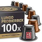 Lungo Testbox: 100 Fairtrade Nespresso kompatible Kapseln. Testgewinner.
