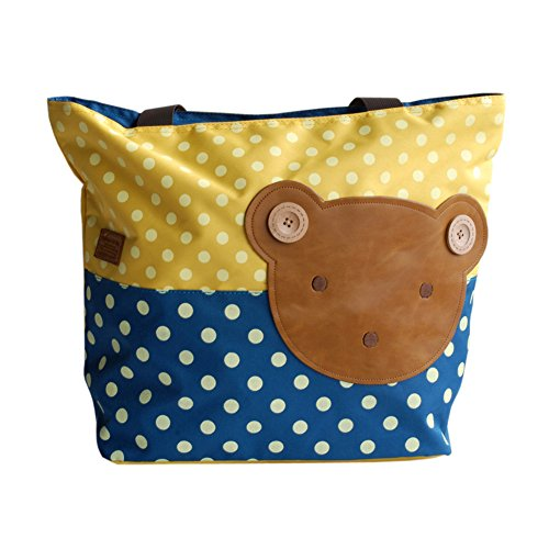 [Bear-yellow] Blancho Applique enfants Tissu Art Sac à main/Shopper Bag-big Taille (16,5 * 5.5 * 12.6)