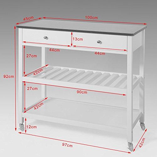 sobuy k chenwagen flurschrank sideboard beistelltisch. Black Bedroom Furniture Sets. Home Design Ideas