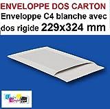10 enveloppe BLANCHE, pochette DOS CARTON rigide C4 229 X 324 poche, sac rigide pour envoi sans plier. Enveloppe cartonnée au verso sur son arrière - Renforcée - Fermeture par bande adhésive