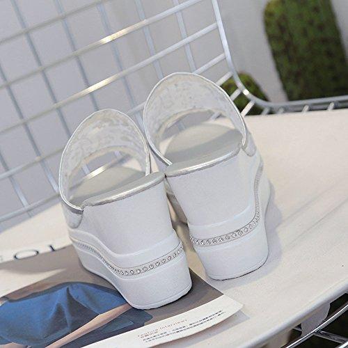 Longra Donne Net Voile Zeppe pantofole Argento