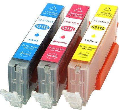 Preisvergleich Produktbild Druckerpatronen Tintenpatronen kompatibel für Canon CLI-551XL Cyan / Magenta / Yellow 3er Farben SET CC Serie mit Chip und Füllstandsanzeige geeignet für CLI551 CLI551XL Canon PIXMA MG5450 MG5550 MG5650 MG6350 MG6450 MG6650 MG7150 MX725 MX925 IP7250 IX6850