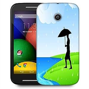 Snoogg Abstract Rainy Season Background With Silhouette Of A Man Holding Umbrella Designer Protective Phone Back Case Cover For Motorola E / Moto E