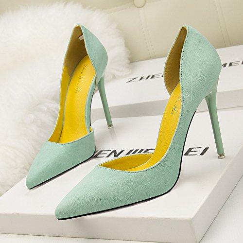 Sottolineato versione coreana di semplici scarpe con il tacco alto in camoscio sottile bocca poco profonda cava sexy green