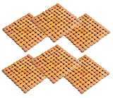 #9: Kuber Industries Bamboo 6 Piece Heat Pad Set - Wooden