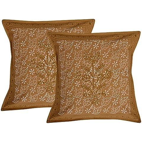 Fatto a mano-Coprifedera cuscino in cotone per federa cuscino con stampa a blocchi, 16 in 4