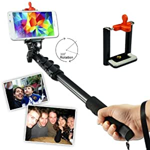 First2savvv ZP-188A01 black Self-portrait extendable telescopic handheld Pole Arm monopod Camcorder/Camera/mobile phone tripod mount adapter bundle for Samsung Galaxy S4 S IV GT I9505